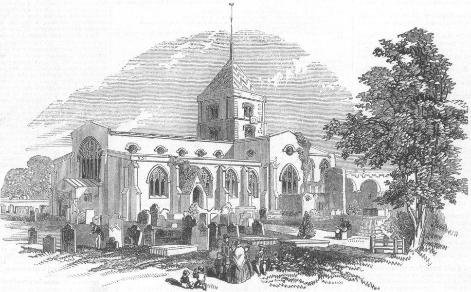Associate Product SUSSEX. St Nicholas Church, Arundel, antique print, 1851