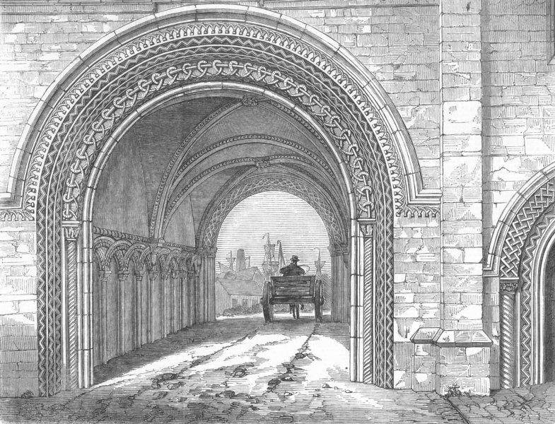 Associate Product GLOS. The Abbey Gateway, Bristol, antique print, 1851