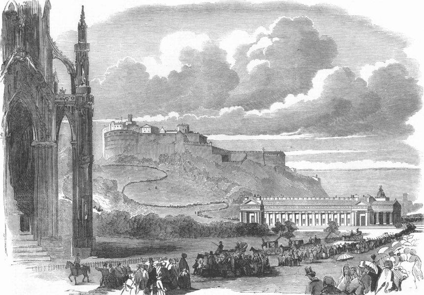 Associate Product SCOTLAND. Parade passing Scott Monument, Edinburgh, antique print, 1851