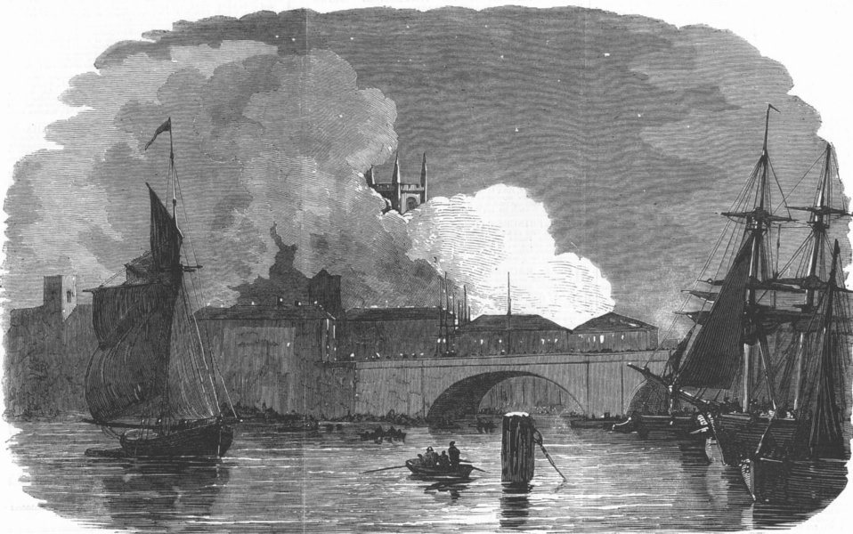 Associate Product LONDON. recent fire at Montague-Close, London Bridge, antique print, 1851