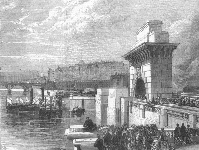 Associate Product LONDON. Thames Embankment. Boarding at Temple, antique print, 1868