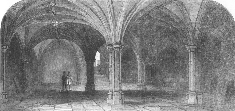 Associate Product LONDON. The crypt of the City of London Guildhall, antique print, 1851