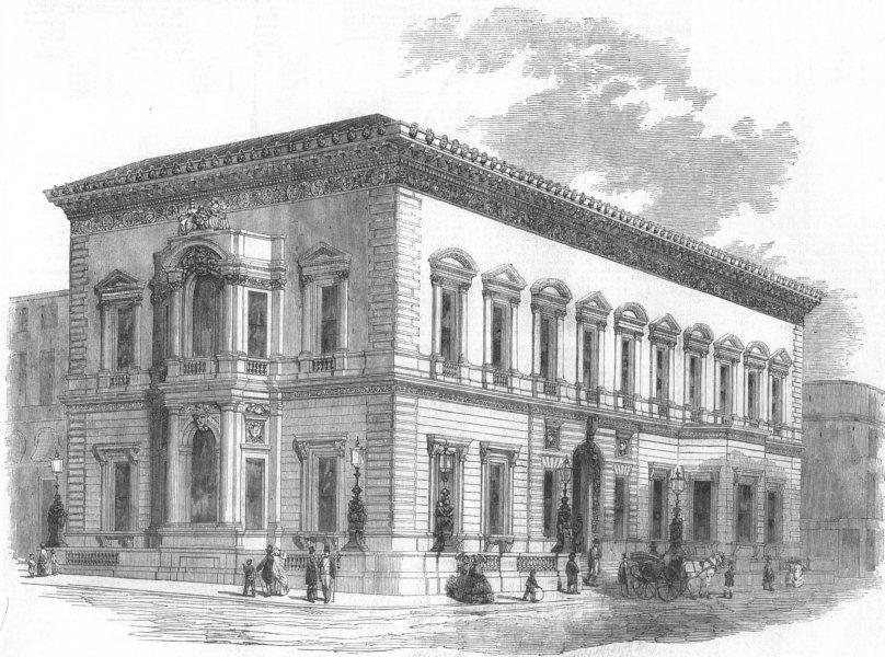 Associate Product LONDON. United Service Club, Charles St, St Jamess, antique print, 1856