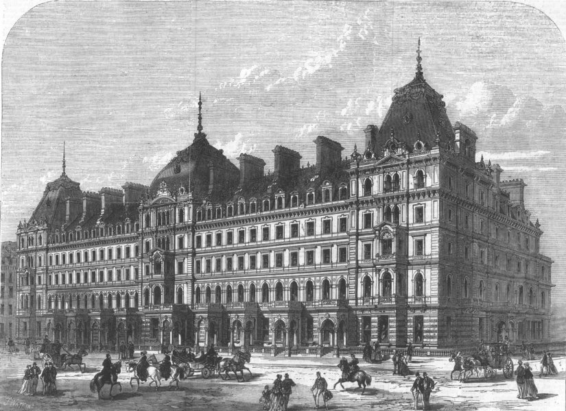 Associate Product LONDON. New buildings in Grosvenor-Place, antique print, 1868