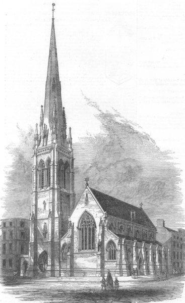 Associate Product SCOTLAND. New Independent Church, Glasgow, antique print, 1852