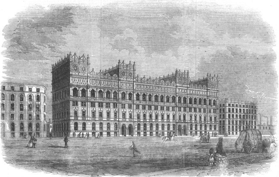 LANCASHIRE. Messrs Watts's new warehouse, Manchester, antique print, 1856