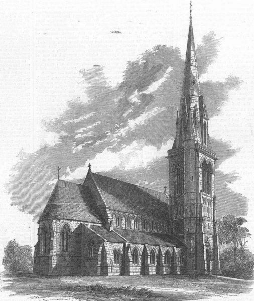 Associate Product LONDON. St Matthias' Church, Richmond, Surrey, antique print, 1858