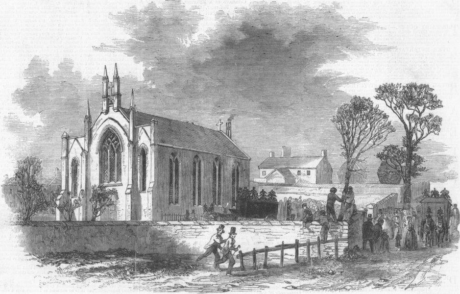 Associate Product SCOTLAND. Funeral at Catholic Church of Barrhead, antique print, 1851