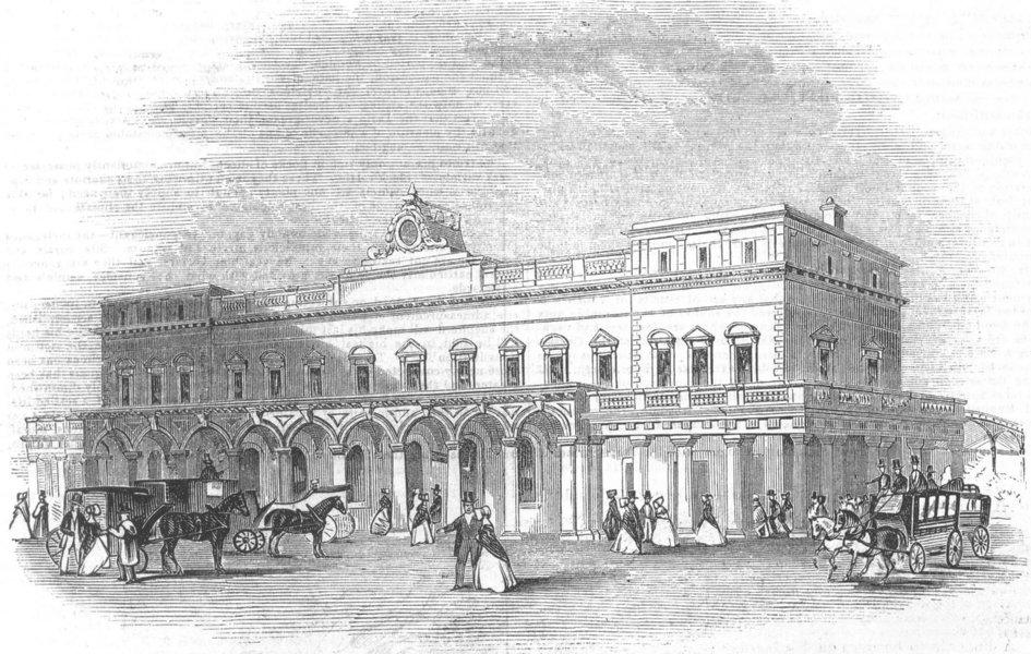 Associate Product The London & Brighton Railway - Brighton terminus station, antique print, 1844