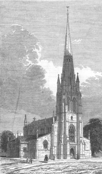 Associate Product LONDON. St Mary's new Church, Herne Hill, antique print, 1844