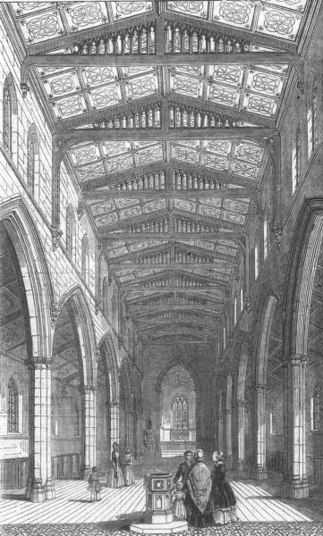 Associate Product LONDON. St Marys New Church, Herne Hill, antique print, 1844
