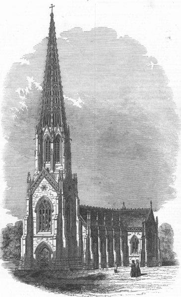 Associate Product LANCS. Terra Cotta Church, near Bolton, antique print, 1845