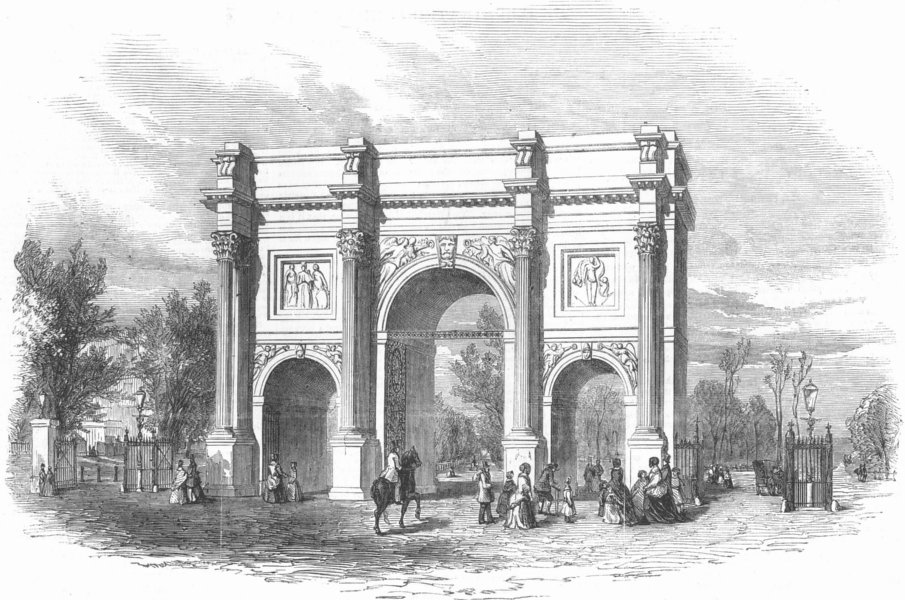 Associate Product CUMBS. The Marble Arch Cumberland-Gate Hyde-Park, antique print, 1851