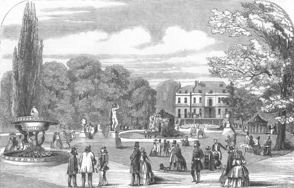 Associate Product LONDON. Symposium, Gore House, Kensington, antique print, 1851