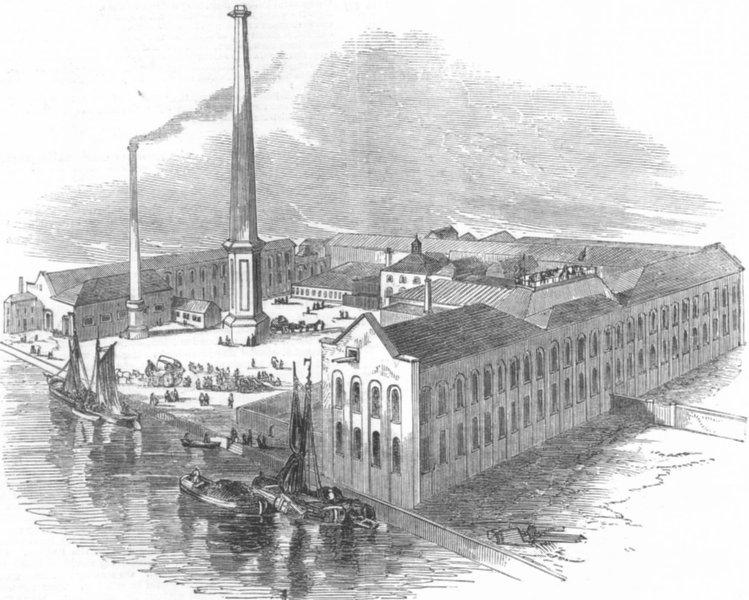 Associate Product LONDON. Thames bank depository, Ranelagh Rd, Pimlico, antique print, 1851