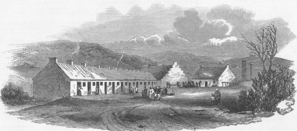 Associate Product SECULAR BUILDINGS. Pitmen's Dwellings, antique print, 1851