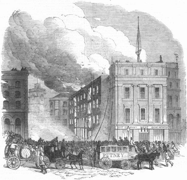 Associate Product LONDON. Distructive fire, Tooley St, Southwark, , antique print, 1851