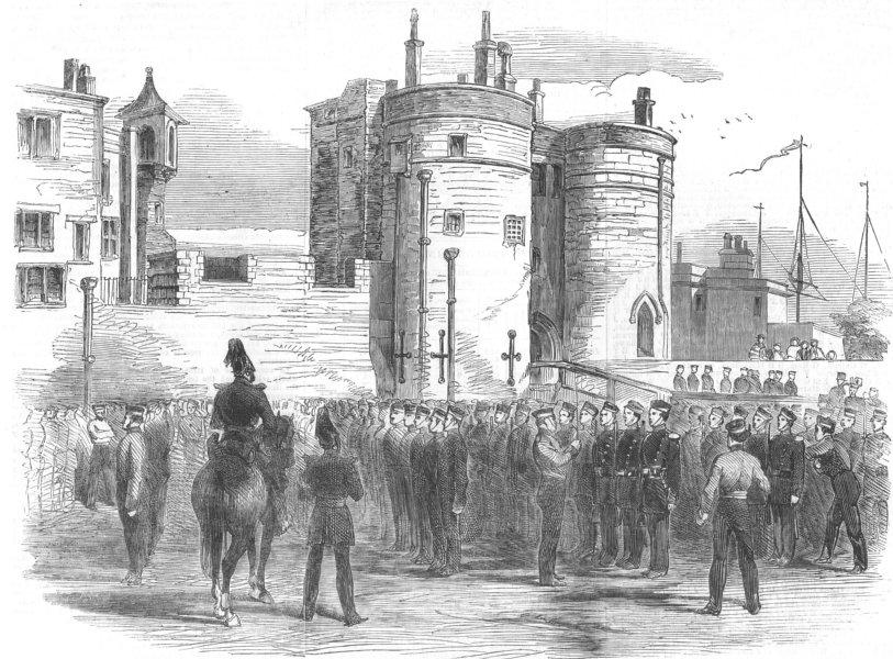 Associate Product LONDON. Inspection of Essex Militia, Tower of London, antique print, 1854