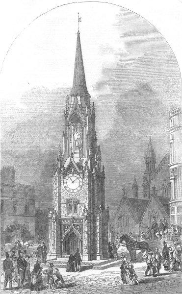 Associate Product LONDON. Wellington memorial Clock-Tower, Southwark, antique print, 1854