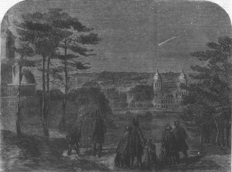 Associate Product LONDON. Donati's comet, as seen from Greenwich Park, antique print, 1858