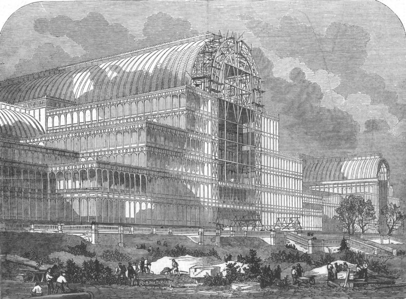 Associate Product LONDON. garden front of Crystal Palace of 1854, antique print, 1854