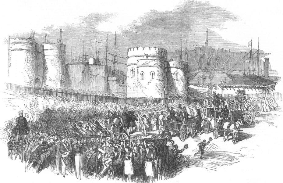 Associate Product SECULAR BUILDINGS. Grenadier Guards leaving tower, , antique print, 1854