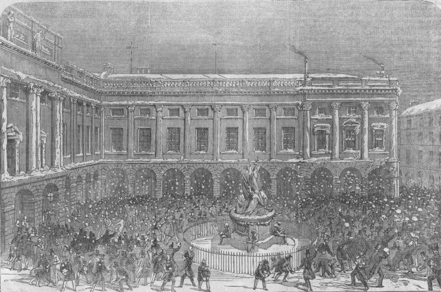 Associate Product LANCASHIRE. Mass snowball fight, Liverpool Exchange, antique print, 1854