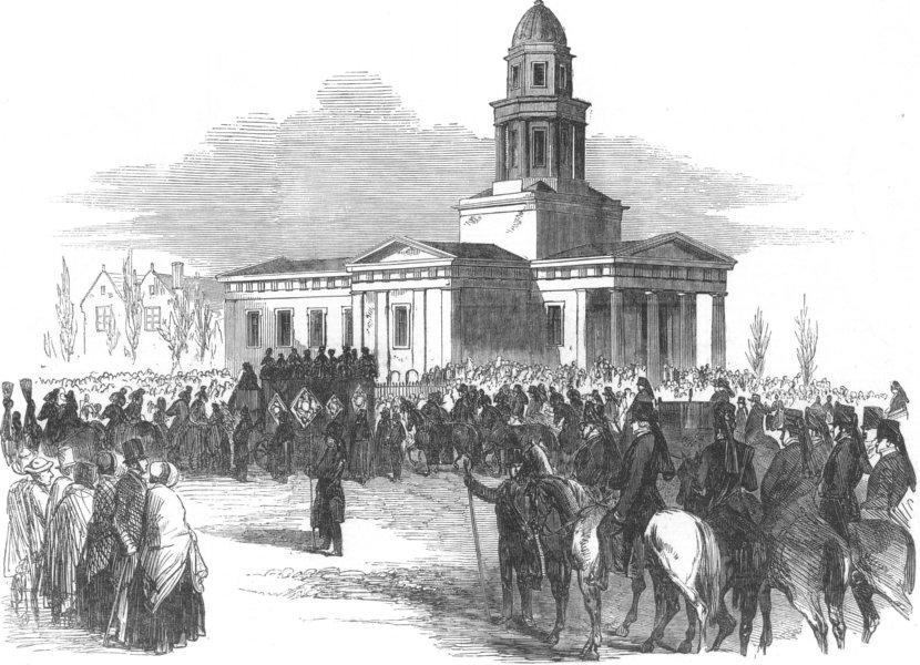 Associate Product NOTTS. Funeral of Duke of Newcastle, Markham-Clinton, antique print, 1851