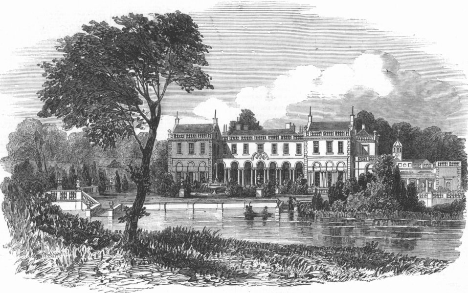 Associate Product NOTTS. Clumber, seat of Duke of Newcastle, antique print, 1851