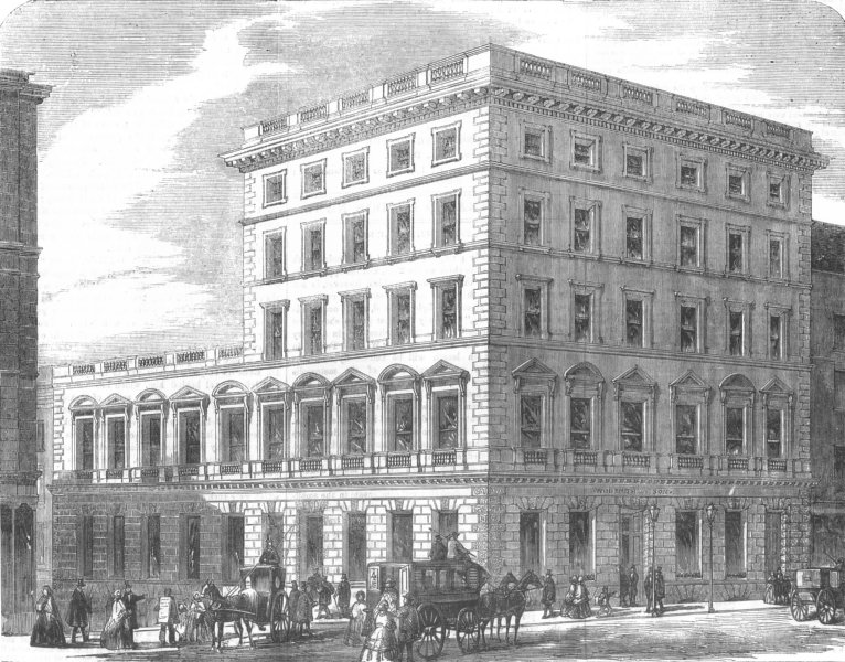 Associate Product LONDON. No 187 The Strand, antique print, 1856