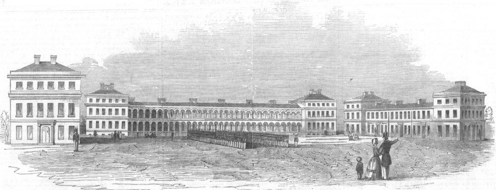 Associate Product LONDON. New Royal Marine barracks, Woolwich, antique print, 1846