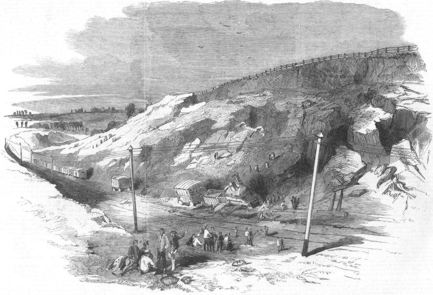 Associate Product LINCS. Landslip, Spittal-Gate railway cutting, antique print, 1852