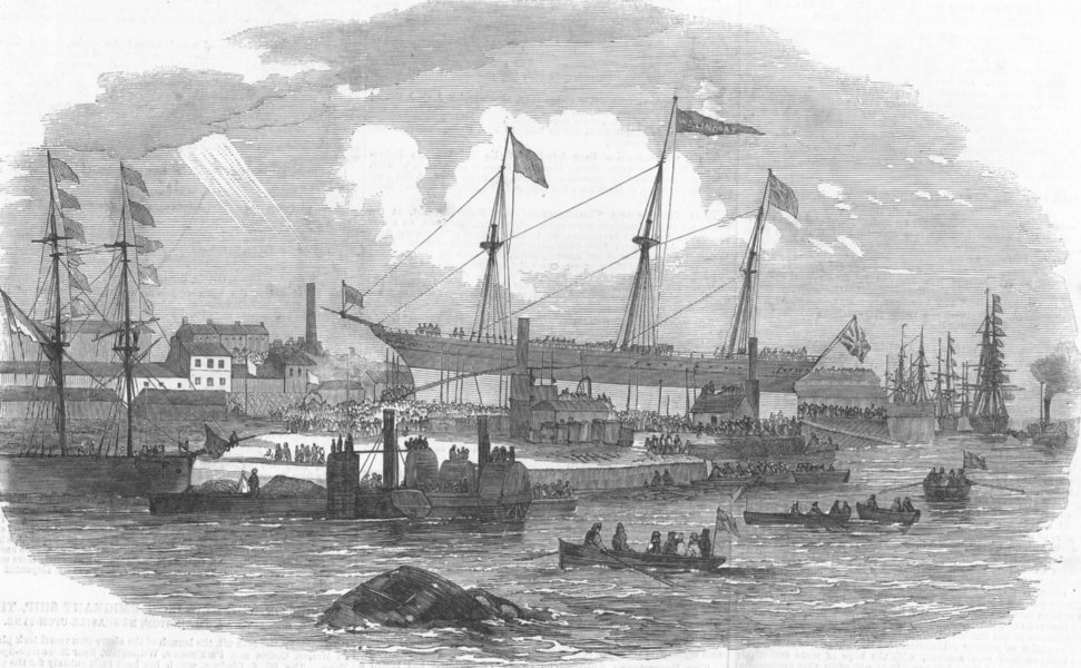 Associate Product NORTHUMBERLAND. Ship launch, Willington, Newcastle-on-Tyne, antique print, 1852