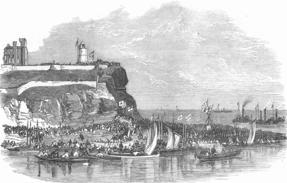 Associate Product NORTHUMBS. laying keystones of new piers, Tyne, antique print, 1854