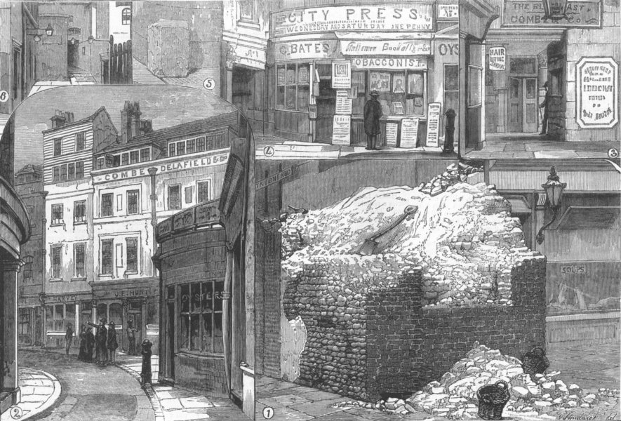Associate Product LONDON. Bits of old London, antique print, 1882