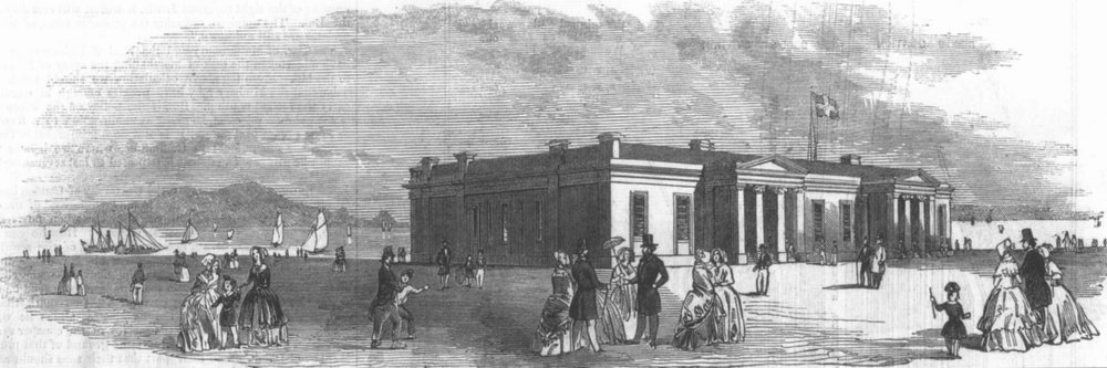 Associate Product CUMBS. The Royal Kingstown Yacht Club House, antique print, 1846