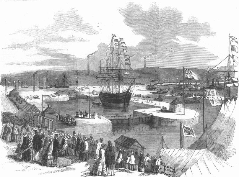 Associate Product NORTHUMBS. Northumberland dock, Newcastle-on-Tyne, antique print, 1857