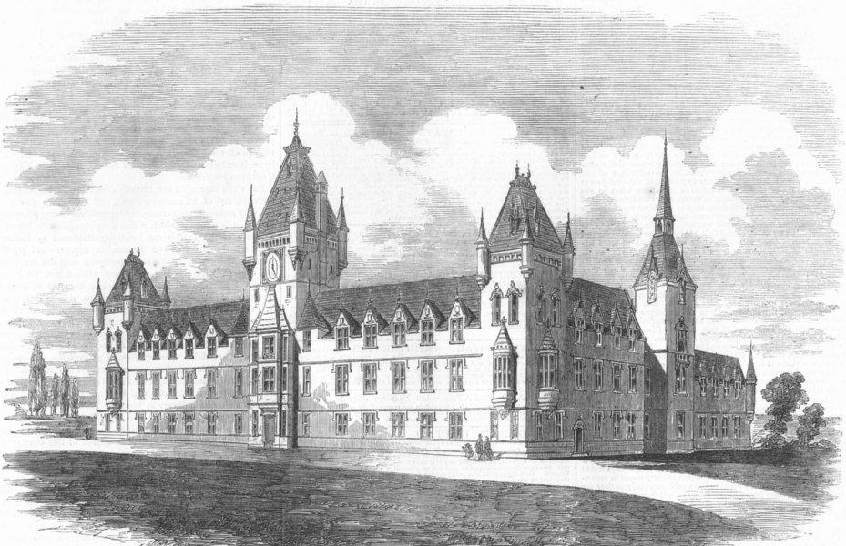 Associate Product LONDON. The Royal Victoria Patriotic Building, antique print, 1857