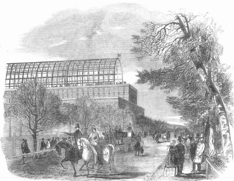 Associate Product BUILDINGS. Crystal Palace, from Park Rd, antique print, 1850