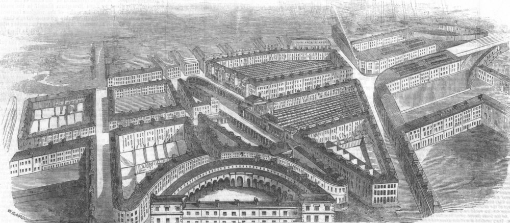 Associate Product LONDON. Proposed railway station for City of London, antique print, 1846