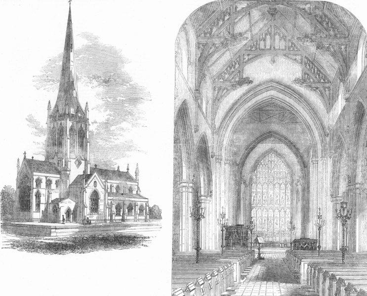 Associate Product LINCS. St Margarets Church nr Altringham, Knutsford, antique print, 1856
