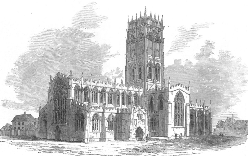 Associate Product YORKS. St George's Church, Doncaster, recently burnt, antique print, 1853