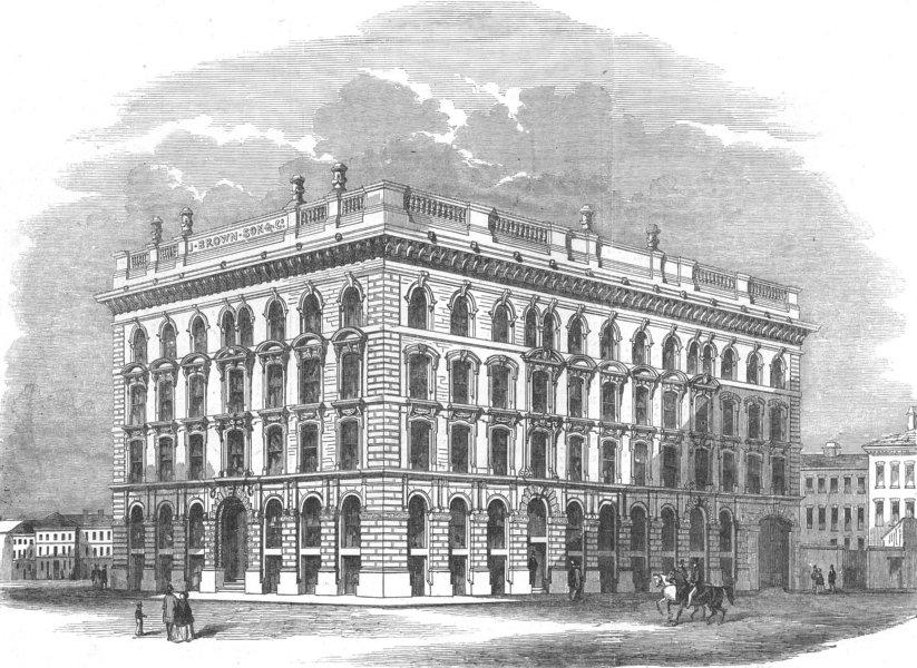 Associate Product LANCS. Warehouses built for Brown & Co, Manchester, antique print, 1853