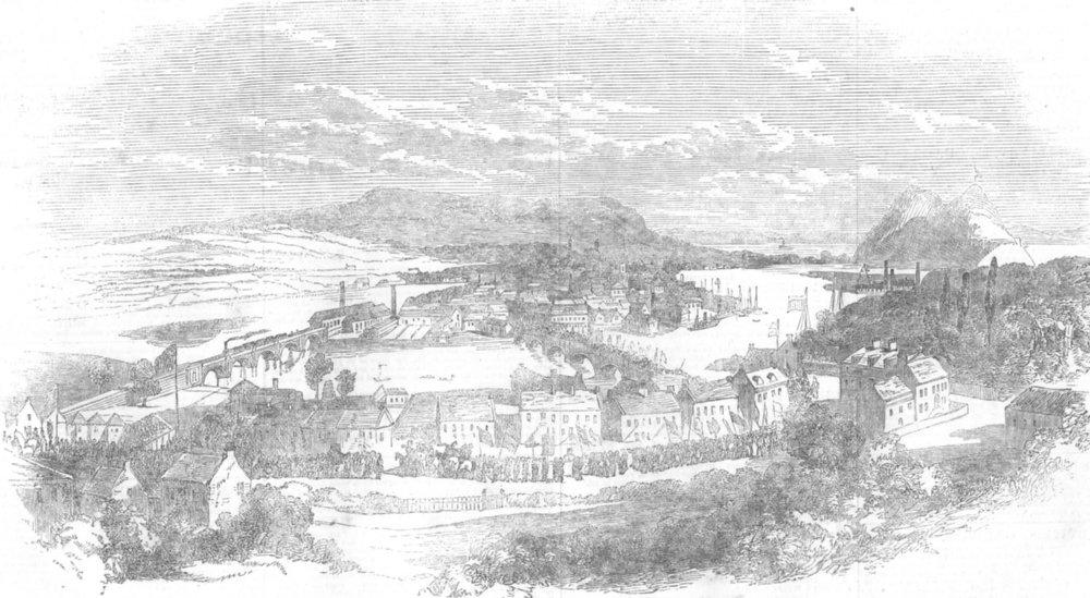 Associate Product SCOTLAND. Ceremony of founding new Dumbarton, antique print, 1853