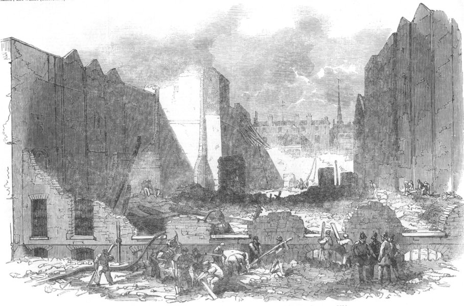 LONDON. Ruins of the great fire in Mark-Lane, antique print, 1850