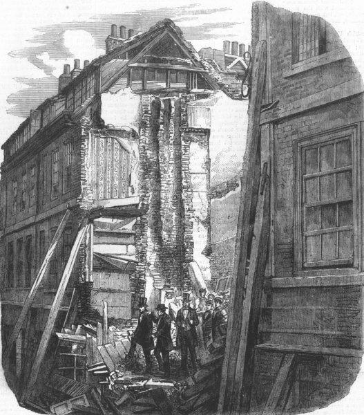 Associate Product LONDON. Ruins of fallen houses, Pilgrim St, city, antique print, 1858