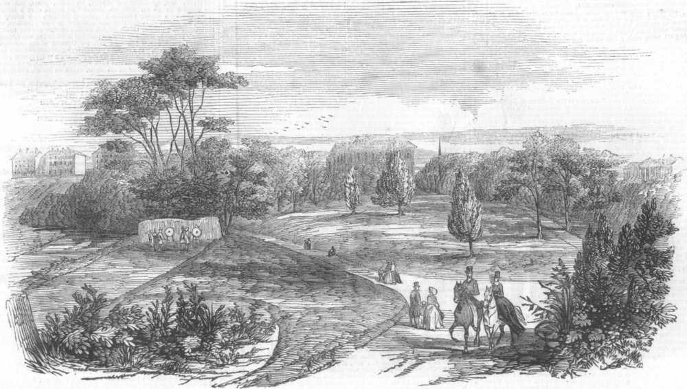 Associate Product LANCS. Manchester Public Parks-The Peel Park, antique print, 1846