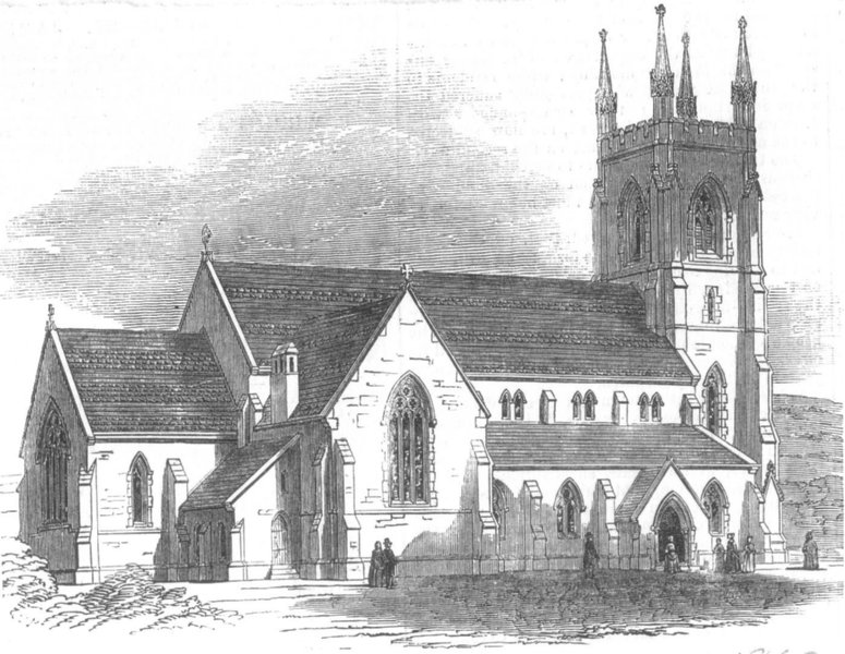 Associate Product YORKS. Christ Church, Pitsmoor, Sheffield, antique print, 1850