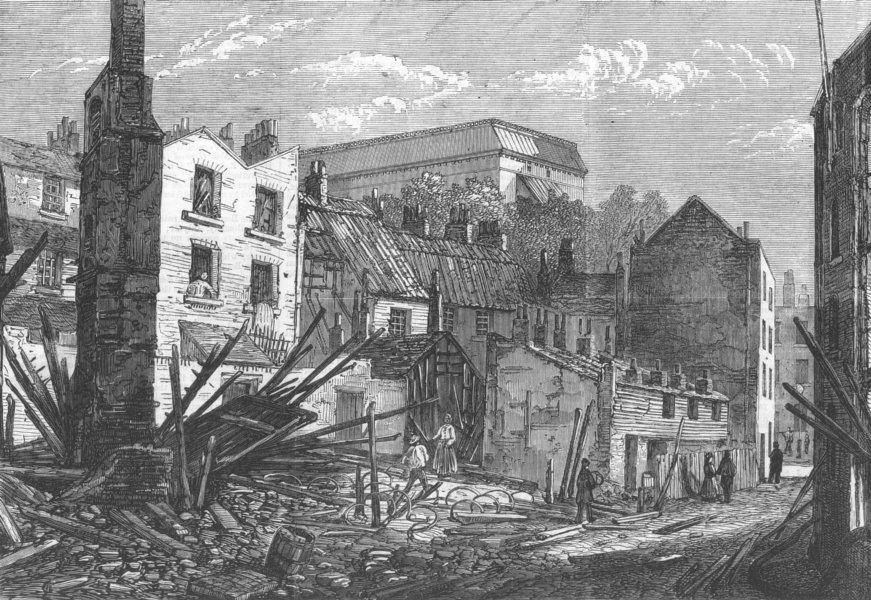Associate Product LONDON. disastrous fire, Borough, antique print, 1868