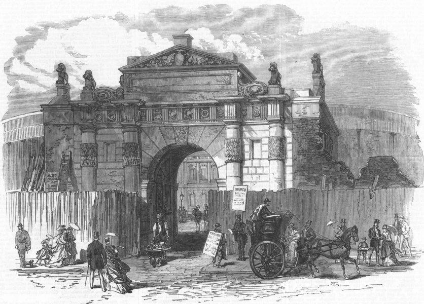 Associate Product LONDON. Demolition of Burlington House, Piccadilly, antique print, 1868